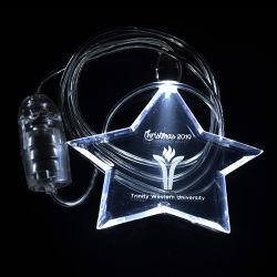 Collana chiara di plastica di incandescenza LED di figura della stella di Linli con il marchio per promozionale