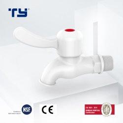 مطبخ بلاستيك PVC ماء صنبور ماء صنبور ماء حمام بيبكوك المشتت ميكسر العلامات التجارية مقبض أبيض واحد