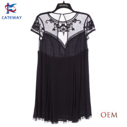 Les femmes (femme) Le nouveau Design Fashion crêpe dentelle maille douce belle robe MIDI de bureau