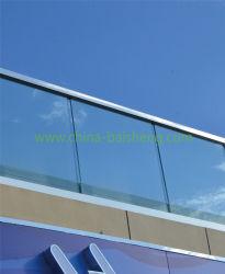 Baranda de aluminio recubierto de polvo de cristal de plata brillante Soporte de la Seccional de la tira de caucho con la columna de aluminio laminado de vidrio templado Post Rail