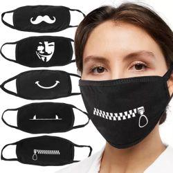 Venta caliente DIY moda negro de algodón lavable en la boca de impresión de cara máscaras reutilizables con patrón personalizado