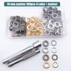 4 Couleur 100 PCS Set et la taille de la cosse à oeillet 10mm avec un jeu d'outils artisanaux pour vêtement & Shoe & étiquette