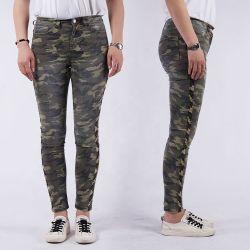 De volledige Vrouwen van de Jeans van de Camouflage van de Was van de Steen van de Keperstof van de Keten van de Productie Magere