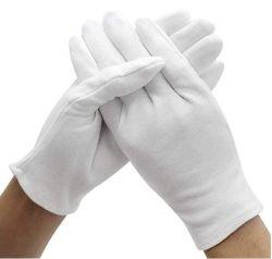Venda por grosso de luvas de segurança branco luvas de algodão em estoque para a Cerimônia e Indústria comunitária