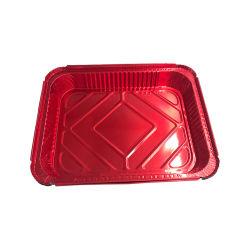 [أم] مستطيلة مطبخ إستعمال طعام يعبّئ [ألومينيوم فويل] وعاء صندوق صينيّة مع غطاء ورقيّة