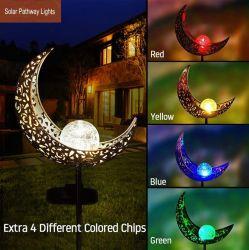 A energia solar Jardim relvado House Piscina Decoração de LED de luz com ferro metálico oco de arte fora Moon Sun & Flower Torch Anjo com design de jogo