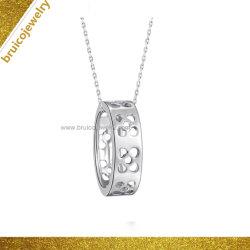 大きい丸型の石の宝石類のネックレス18Kの白い金張りの模造ダイヤモンドネックレス