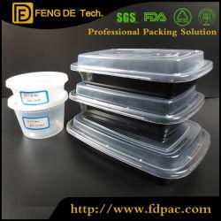De dubbele Doos van de Lunch Bento van Lagen Plastic met het Vaatwerk van de keuken van de Familie van de Lepel en van de Vork