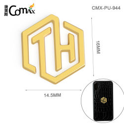 Hot Vente de colle en alliage de métal or plaque de logo, nom du logo de la plaque de métal creux pour les sacs à main