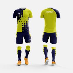 Blaues gelbes Großhandelspolyester scherzt Fußball Jersey