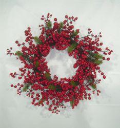Mix de plantas de Pinus Artificial Faux Berry Coroa de Natal para porta ou na parede