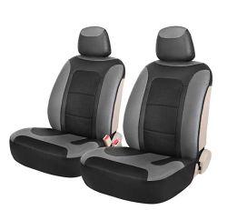 As tampas do assento de couro dianteira do carro ajustado lado cinzento
