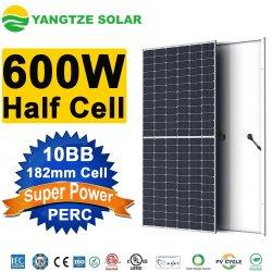 يانغتسي 182مم نصف خلية 580W 590W 600 واط من الخلايا الكهروضوئية البلورات لوحة شمسية لنظام الطاقة الشمسية بأفضل سعر