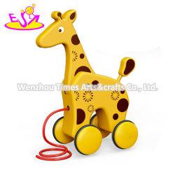 Nova chegada de madeira pré-escolar a linha de puxar carros brinquedos para bebés W05b195