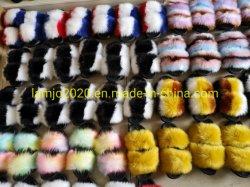 多彩なのどの毛皮のスライドの女性は女性のためのつま先のスリッパを開く