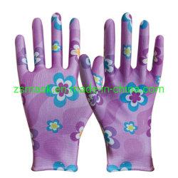 Красочные полиэстера с белыми PU упор для рук с покрытием, рабочие перчатки