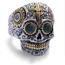 Мода кольцо из нержавеющей стали золотого цвета креста череп титана стальное кольцо панк стиле Cool мужчин палец кольцо