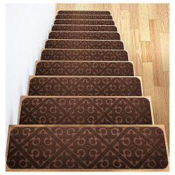 회색 실내 계단 목재를 위한 카펫 스텝 러그 스텝 키즈 장로들과 애완견