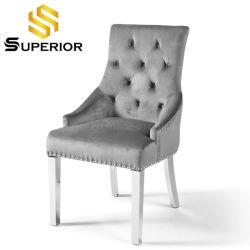 Accueil Mobilier moderne en acier inoxydable de salle à manger de tissu chaise pour restaurant