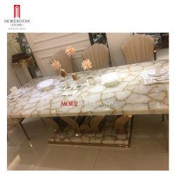 Gemstone Slab Custom Luxury White Crystal Semi-fess귀한 석식을 즐겨보세요 테이블 탑