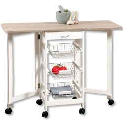 Cuisine Mobile version Brouette avec pliage du plan de travail, 3 étagères, tiroir, Mesh paniers, dépliée env. 100 cm, Bois Blanc/décoration de chêne