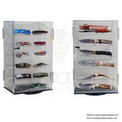 独占記事の記憶装置またはコレクターのためのカスタマイズされた回転明確なアクリルのナイフの陳列ケース/棚/立場