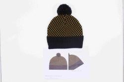 ポンポンのジャカード編む帽子のアクリルの帽子OEMの帽子