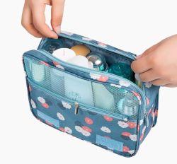 女性用高品質キャンバス化粧品バッグトラベルキットバッグ
