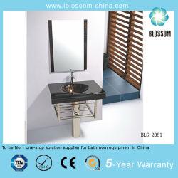 El cuarto de baño vidrio simple vanidad lavabo con espejo de plata (BLS-2081)