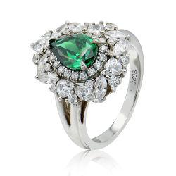 Figura verde smeraldo del cuore dell'anello dei monili d'argento di modo lussuosa per le donne