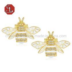 Dernière argent 925 Sterling Earrings or 14K de l'émail Animal Bee Mode bijoux