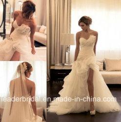 Robe nuptiale sexy Ld15261 de plage fendue de robe de mariage d'organza de ruches