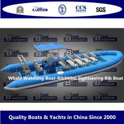 베스트리 9.6m 고래 관광 보트 Rib960m 관광 Rib 섬유 유리 헐입니다 PVC 또는 히포설 튜브 사용