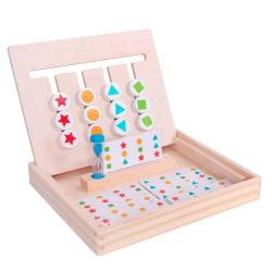 Colore di legno di pensiero del giocattolo di addestramento di puzzle di Quattro-Colore dei capretti del gioco di chiarimento di logica di legno di puzzle che ordina gioco con le schede di colore