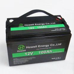 Le marquage CE et approuvé RoHS Rechargebale 12V 100Ah lithium batterie LiFePO4 pour application solaire
