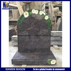 De moderne Grafstenen van het Graniet van de Massa van het Ontwerp Blauwe met Ets Daisy Flowers