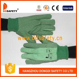 Broca de algodão verde com luvas de pontos em PVC preto com duas nervuras volta punho tricotado verde