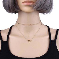 Горячие продажи нескольких строк женщин моды ожерелья сердца очарование ожерелья Ювелирные изделия