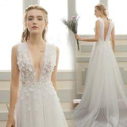 Sexy Fashion cordon Satin Mermaid V-Neck Lady robe robe de mariée