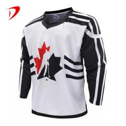 Produttore Guangzhou fabbrica ultimo disegno bianco 5XL Plus taglia Ricamo Maglie Hockey Hockey Hockey su misura per sublimazione