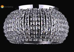 Modernas araña de cristal claro candelabro de cristal redondo LED para iluminación Comedor