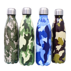Double paroi en acier inoxydable 18/8 Fiole à vide Sports cola en bouteille d'eau couleur camouflage
