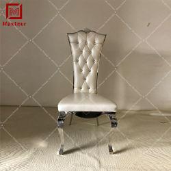 Alto cuoio posteriore con acciaio inossidabile d'argento di cristallo che pranza presidenza