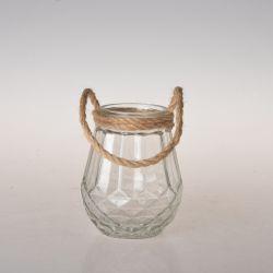 Portacampione in vetro personalizzato all'ingrosso con manico a corda per canapa