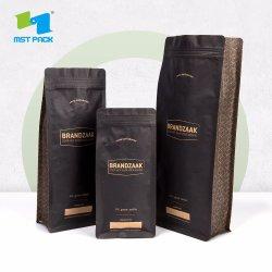 Impresos personalizados biodegradables cremallera frontal negro de fondo plano de papel Kraft de granos de café de la bolsa de embalaje de alimentos