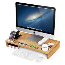 La madera de bambú vertical del monitor con almacenamiento Organier Oficina Escritorio portátil TV Movil soporte para la impresora Desktop Contenedor para oficina en casa Bt-2224