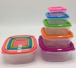 Les boîtes de Fresh-Keeping ronde avec cinq jeux et boîte à lunch, conteneur de stockage alimentaire Bento Boîte à lunch, micro-ondes Coffre de rangement en plastique contenant des aliments