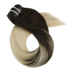 Encaixar as extensões de cabelo 10-24 Máquina Pol Remy Cabelo humano Doule Brasileira Trama Cabeça completa Direitas 7HP 100g (10polegadas Cor B2-60)