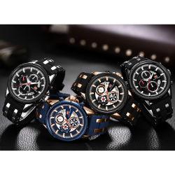 Minifokus-kundenspezifische Firmenzeichenshenzhen-Hersteller-Mann-mechanische Armbanduhr mit Silikon-Band