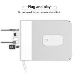 Aleación de aluminio de multi-funcional mouse pad 6 en 1 ampliar los muelles Hub USB con conector RJ45 Micro SD USB 3.0 y puertos de la tarjeta SD para portátiles.